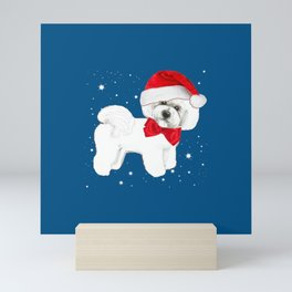 Bichon Frise red christmas holiday themed pattern print pet friendly dog breed gifts Mini Art Print
