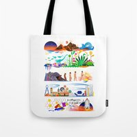 onward Tote Bags featuring Onward by Kitkat Pecson
