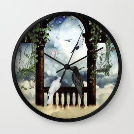 The crow and the dove Wall Clock