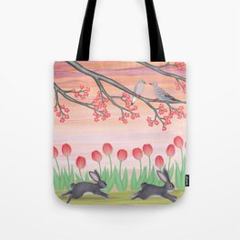 bunnies, tulips, and mourning doves Tote Bag