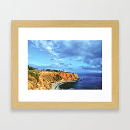Pointe Vicente light house at the bluffs Framed Art Print