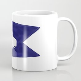 Nantucket Blue and White Sperm Whale Burgee Flag Hand-Painted Coffee Mug