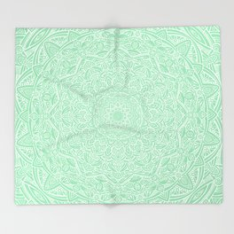 Most Detailed Mandala! Mint Green Color Intricate Detail Ethnic Mandalas Zentangle Maze Pattern Throw Blanket