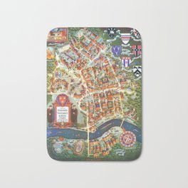 HARVARD University map MASSACHUSETTS Bath Mat
