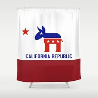 political Shower Curtains featuring Political California Republic Democrat by NorCal