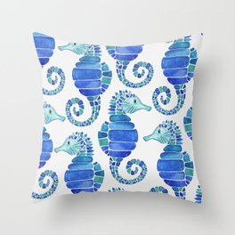 Seahorse - Blue  Throw Pillow