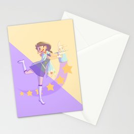 a magician and her assistant Stationery Cards