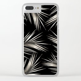 White Gold Palm Leaves on Black Clear iPhone Case