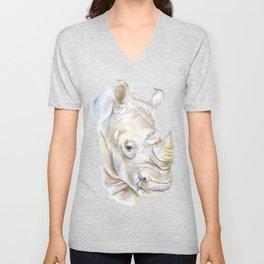 Rhino Watercolor Unisex V-Neck