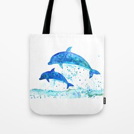 Dolphins, Blue dolphins, watercolor Tote Bag