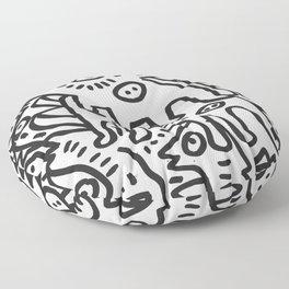 Graffiti Art  Black and White Cyclopes  Floor Pillow