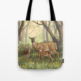 Whitetail Doe and Cute Twin Fawns Tote Bag
