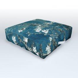 Van Gogh Almond Blossoms : Dark Teal Outdoor Floor Cushion