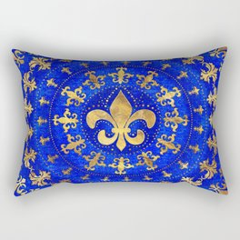 Fleur-de-lis ornament Lapis Lazuli and Gold Rectangular Pillow