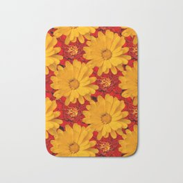 A Medley of Red and Yellow Marigolds Bath Mat