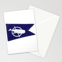 Nantucket Blue and White Sperm Whale Burgee Flag Hand-Painted Stationery Cards