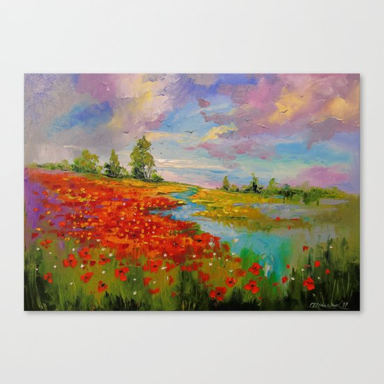 Poppies by the lake Canvas Print