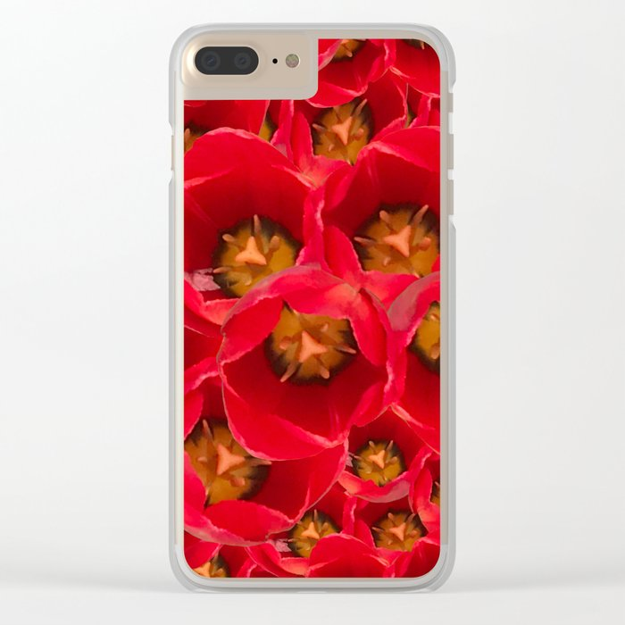 Venetian Red Tulips Clear iPhone Case