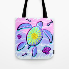 Sea Turtle and Sun Abstract Glitch Ultraviolet Symbol Tote Bag