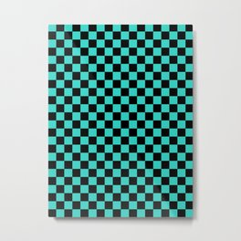 Black and Turquoise Checkerboard Metal Print