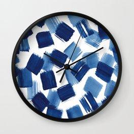 Indigo Brush Strokes | No.1 Wall Clock