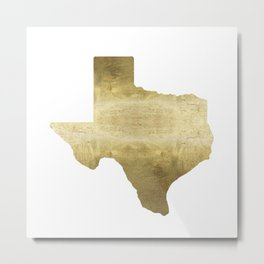 texas gold foil print state map Metal Print