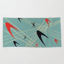 Blue Mid Century Modern Pattern Beach Towel
