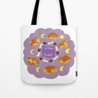 shiba Tote Bags featuring Shiba Sleep by Sae Souki