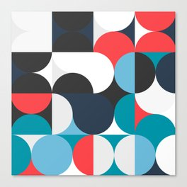 Circles Curves Shapes, Abstract and Geometry, Red, White, blues, black Canvas Print