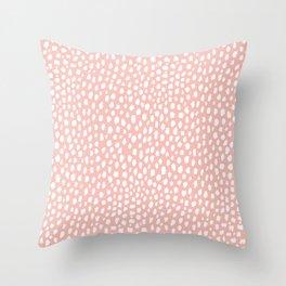 Pink Polka Dot Spots (white/pink) Throw Pillow