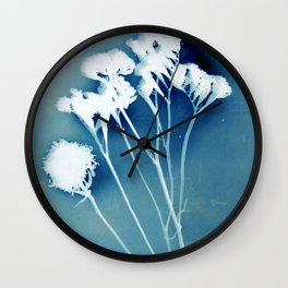Blue Strawflower Wall Clock