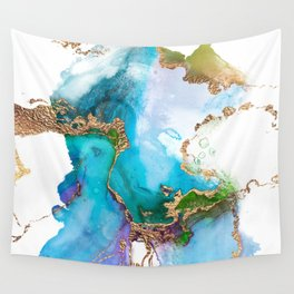 Abstract Marble Mermaid Gemstone With Gold Glitter Wall Tapestry