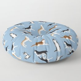 Husky Pattern (Blue Gray Background) Floor Pillow