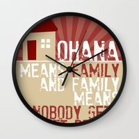 lilo and stitch Wall Clocks featuring Ohana Means Family - Lilo & Stitch by Crafts and Dogs