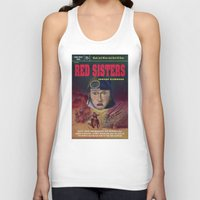 """book cover Tank Tops featuring """"Red Sisters"""" Book Cover by 7 Hells: Retro Horror art of Bill Rude"""