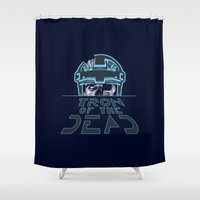 tron Shower Curtains featuring Tron Of The Dead by The Cracked Dispensary