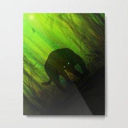 Black Panther Silhouette Metal Print