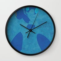 megaman Wall Clocks featuring Megaman by JHTY