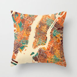 New York Mosaic Map #2 Throw Pillow