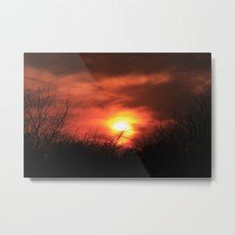 Firey Kansas Sunset Metal Print