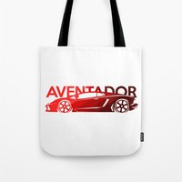 lamborghini Tote Bags featuring Lamborghini Aventador - classic red - by Vehicle