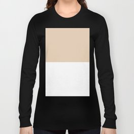 White and Pastel Brown Horizontal Halves Long Sleeve T-shirt