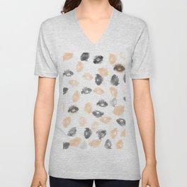 Black gray coral watercolor abstract brushtrokes Unisex V-Neck