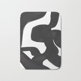 Black And White Minimalist Mid Century Abstract Ink Art African Style Tribal Maze Pattern Bath Mat