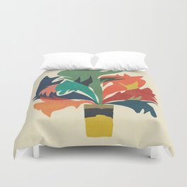 Potted staghorn fern plant Duvet Cover