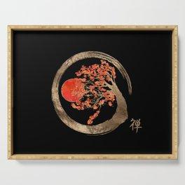 Zen Enso Circle and Golden Sakura Tree Serving Tray