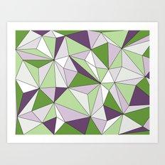 Geo - green, purple, gray and white. Art Print