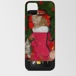 Christmas, funny kitten iPhone Card Case
