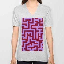 Lavender Violet and Burgundy Red Labyrinth Unisex V-Neck