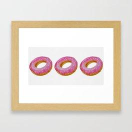 Watercolor donut pattern - pink Framed Art Print